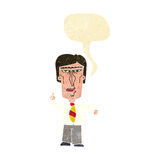 Cartoon grumpy boss with speech bubble Royalty Free Stock Image