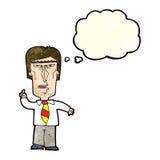 Cartoon grumpy boss with thought bubble Stock Photo