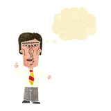 Cartoon grumpy boss with thought bubble Royalty Free Stock Image