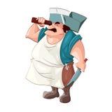 Cartoon grumpy butcher. Royalty Free Stock Photos