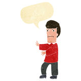 Cartoon grumpy man with speech bubble Stock Images