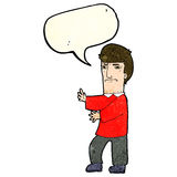 Cartoon grumpy man with speech bubble Stock Photos
