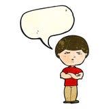 Cartoon grumpy man with speech bubble Royalty Free Stock Photos