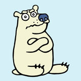 Cartoon grumpy polar bear. Vector illustration. royalty free stock photo