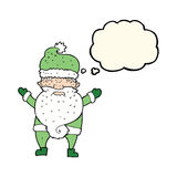 Cartoon grumpy santa with thought bubble Royalty Free Stock Images