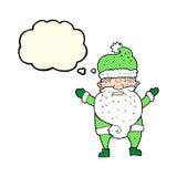 Cartoon grumpy santa with thought bubble Stock Image