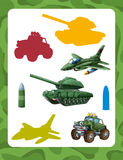 Cartoon guessing game for kids with colorful military vehicles and elements joining pairs. Beautiful and colorful illustration for the children - for different Royalty Free Stock Images