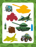 Cartoon guessing game for kids with colorful military vehicles and elements joining pairs. Beautiful and colorful illustration for the children - for different royalty free illustration