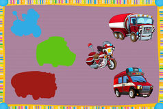 Cartoon guessing game for little kids with colorful fireman vehicles connecting pairs. Beautiful and colorful illustration for the children - for different usage Royalty Free Stock Images