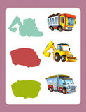 Cartoon guessing game for little kids with colorful industry cars joining pairs. Beautiful and colorful illustration for the children - for different usage - for Royalty Free Stock Photo
