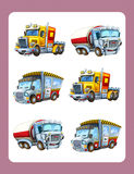 Cartoon guessing game for little kids with colorful industry cars joining pairs. Beautiful and colorful illustration for the children - for different usage - for Stock Image