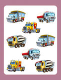Cartoon guessing game for little kids with colorful industry cars joining pairs. Beautiful and colorful illustration for the children - for different usage - for Stock Images