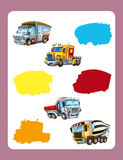 Cartoon guessing game for little kids with colorful industry cars joining pairs. Beautiful and colorful illustration for the children - for different usage - for Stock Photos