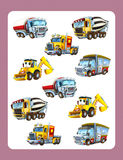 Cartoon guessing game for little kids with colorful industry cars joining pairs Royalty Free Stock Photography