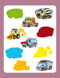 Cartoon guessing game for little kids with colorful industry cars joining pairs. Beautiful and colorful illustration for the children - for different usage - for Royalty Free Stock Photography