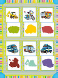 Cartoon guessing game for little kids with colorful industry and police vehicles Stock Photo