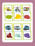 Cartoon guessing game for little kids with colorful industry and police vehicles Royalty Free Stock Photos