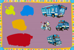 Cartoon guessing game for little kids with colorful police vehicles. Beautiful and colorful illustration for the children - for different usage - for fairy tales stock illustration