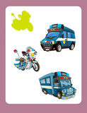 Cartoon guessing game for little kids with colorful police vehicles Stock Photography
