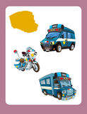 Cartoon guessing game for little kids with colorful police vehicles Royalty Free Stock Image