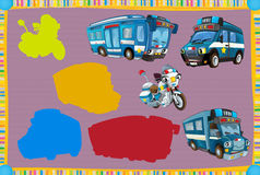 Cartoon guessing game for little kids with colorful police vehicles. Beautiful and colorful illustration for the children - for different usage - for fairy tales royalty free illustration
