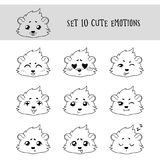 Set of 10 Linear Funny Cavy Emoticons Stock Photo