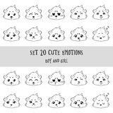 Set of 20 Linear Funny Girl Cavy Emoticons Royalty Free Stock Image