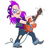Cartoon guitarist of rock and roll band Stock Photo