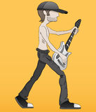Cartoon guitarist. Royalty Free Stock Image