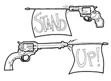 Cartoon gun and revolver Royalty Free Stock Photography