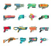 Cartoon gun vector toy blaster for kids game with futuristic handgun and children raygun of aliens in space illustration. Set of child pistols and laser weapon Royalty Free Stock Images