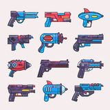 Cartoon gun vector toy blaster for kids game with futuristic handgun and raygun of aliens in space illustration set of. Child pistols and laser weapon isolated Stock Images
