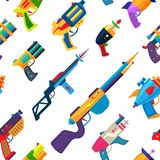 Cartoon gun vector toy blaster for kids game with handgun and raygun of aliens in space illustration set of child. Pistols and laser weapon seamless pattern vector illustration