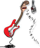Cartoon gutar sing to microphone. Royalty Free Stock Images