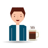 cartoon guy with coffee mug hot design icon Stock Photography
