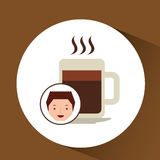 cartoon guy with coffee mug hot design icon Stock Image