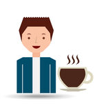 cartoon guy with cup coffee hot design icon Stock Image
