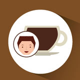 cartoon guy with cup coffee hot design icon Stock Images