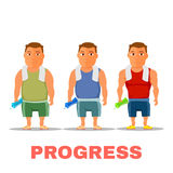 Cartoon guy fit progress, after work out, with towel and water bottle. Vector Royalty Free Stock Images