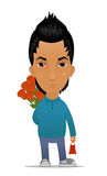 Cartoon guy with flowers and gift Royalty Free Stock Photos