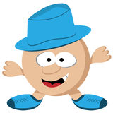 Cartoon Guy with Hat. Cartoon round guy with short legs and arms wearing a blue hat. Comical face royalty free illustration