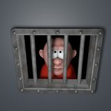 Cartoon guy in jail Royalty Free Stock Image