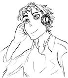 Cartoon guy listening to music in the headphones sketch Stock Photography