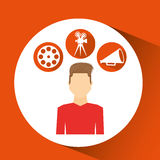 Cartoon guy movie icons Royalty Free Stock Photography