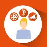 Cartoon guy movie icons Stock Image