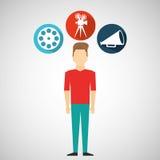 Cartoon guy movie icons Stock Photography