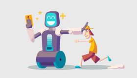 Cartoon about a guy and selfie robot. Trendy guy running after the robot. A robot taking a selfie on smartphone royalty free illustration