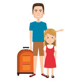 Cartoon guy with travel briefcase and blond girl Royalty Free Stock Photography