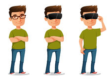 Cartoon guy using virtual reality glasses Royalty Free Stock Image