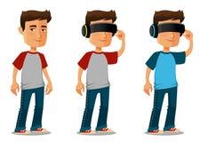 Cartoon guy using virtual reality glasses Royalty Free Stock Image